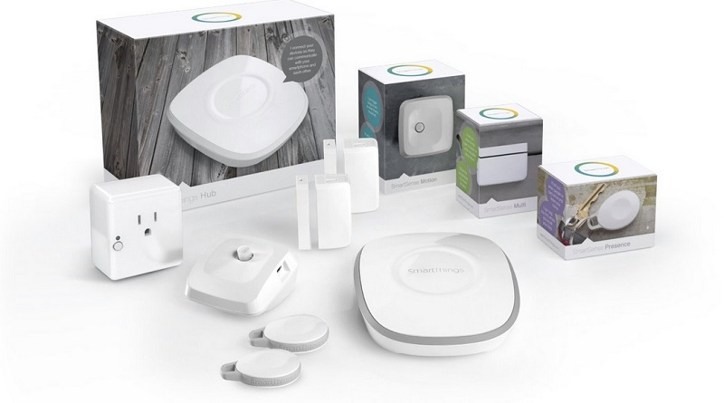 Samsung SmartThings is a collection of smart home devices that communicate with each other with a little help from Alexa Skills Kit.