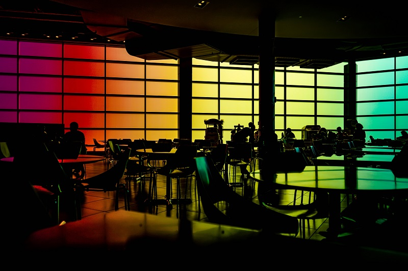 What is an LED Lighting Panel Meeting Area with Colored LED Panels