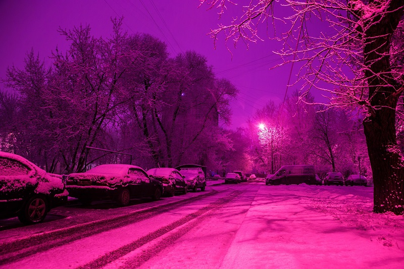 Outdoor Winter Lighting Ideas Purple Light on a Street Light