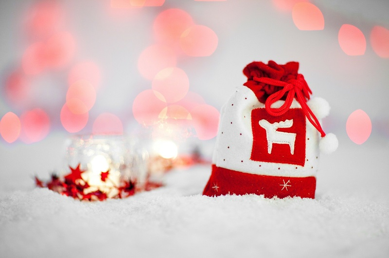 Socially Distanced Holiday Party Ideas a Holiday Bag Sitting in Snow