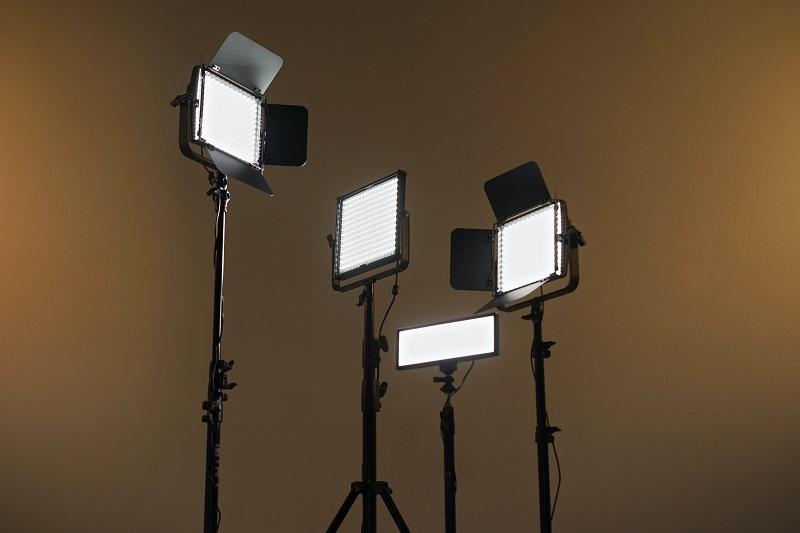 Cree vs COB LED Lights Four Light Panels on Stands